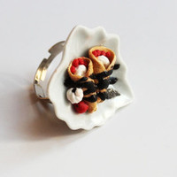 Miniature Food Heart Plate Ring