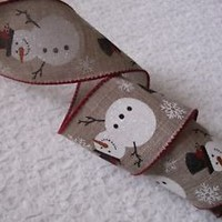 Christmas Ribbon, Snowman and Snowflakes, 2 1/2 In Wide,Wired Edge, 4 YARDS