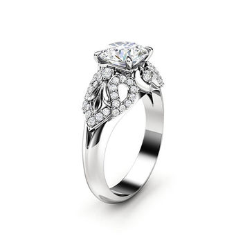 Art Deco Engagement Ring 14K White Gold Ring Moissanite Engagement Ring Gold Moissanite Ring