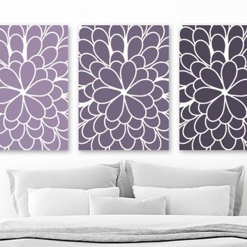Purple Flower Wall Art, Purple Ombre Flower Wall Decor, Purple Bedroom CANVAS or Prints, Purple Floral Bathroom Wall Decor, Set of 3 Artwork