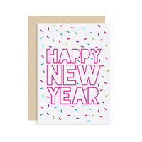 Happy New Year - Holiday Seasonal Card Gift - Sprinkles Confetti - Modern Cute Fun 5x7