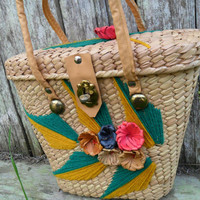 Vintage COLORFUL Straw Purse - Retro Basket Handbag