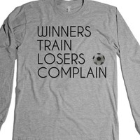 Winners Train Losers Complain Soccer t-shirt-Heather Grey T-Shirt
