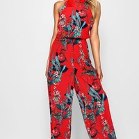 Helena High Neck Floral Wide Leg Jumpsuit | Boohoo