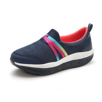 Unisex Women Breathable Slim Wedges Sneakers Shoes Women Platform Swing Toning Shoes for Mother