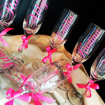 Personalized champagne flute Bride, Bridesmaid, Maid of honor, Matron of honor any title .
