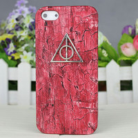 Deathly Hallows Harry Potter Red Wood Grain Hard Case Cover  for Apple iPhone5 Case, iPhone 5 Cover,iPhone 5 Case, iPhone 5g
