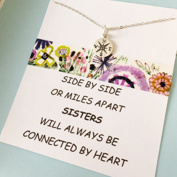 Sterling Silver Sister Necklace, Sisters quote, Friends Necklace, Necklace with quote, Sisters Gift, Sterling Silver Compass Necklace