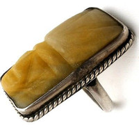 Copy of Mexican Sterling Silver Carved Calcite Mask Ring Vintage Size 7