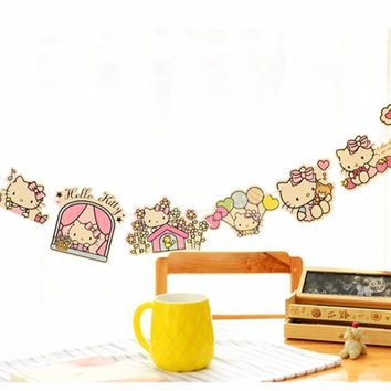 Lovely Hello Kitty Cat Hanging Bell Garland Banners for Girl Happy Birthday Flags Event and Party Supplies Decoration