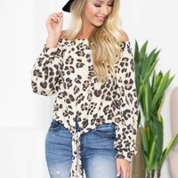 Balloon Sleeve Off Shoulder Leopard Top