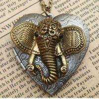 Steampunk Elephant 0510c Locket Necklace Vintage by sallydesign