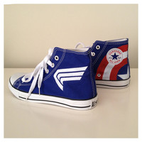 Captain America themed hand painted sneakers