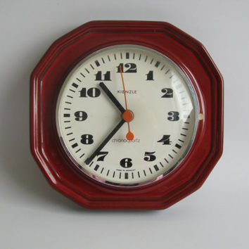 Ceramic Wall Clock by Kienzle / 60s 70's Germany / Dark red wall clock