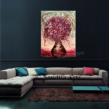 "Flower Painting, 40"" Contemporary Floral Art Red Pink Texture Palette Knife Bouquet Oil Painting Home Decor Office Decor by Nandita"
