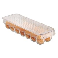 InterDesign Refrigerator Storage Organizer for Kitchen, Covered Egg Holder, 14 Eggs, Clear