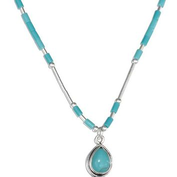 "Sterling Silver 16"" Liquid Silver With Simulated Turquoise Teardrop Necklace"