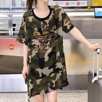 """Adidas"" Women Casual Fashion Camouflage Hot Fix Rhinestone Letter Short Sleeve T-shirt Thin Mini Dress"