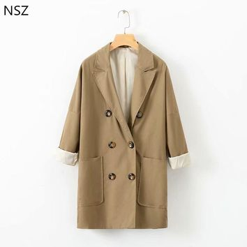 Trendy NSZ Women Coat Autumn Casual Loose Jacket Long Sleeve Double Breasted Outerwear Coat AT_94_13