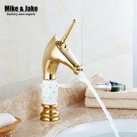 Free Golden unicorn Faucets Bathroom Crystal body icorne Basin Mixer Tap Noble Gorgeous Swivel Basin Sink Faucet