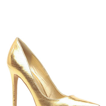 Gold Faux Snake Skin Pointy Toe Classic Pumps