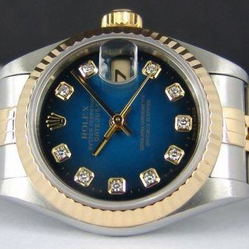 ROLEX Ladies 18kt Gold & SS 26mm Datejust Blue Vignette DIAMOND 69173 SANT BLANC