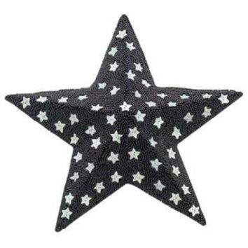 Black Beaded and Silver Star Hanging Decoration