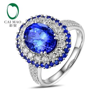 Caimao 8x10mm Oval Cut 3.15ct tanzanite Halo Pave Diamonds 14K White Gold Engagement Ring Free shipping