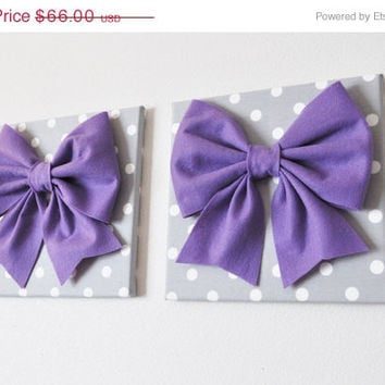 "MOTHERS DAY SALE Two Wall Hangings -Large Lavender Bow on Gray with White Polka Dot 12 x12"" Canvas Wall Art- Baby Nursery Wall Decor-"