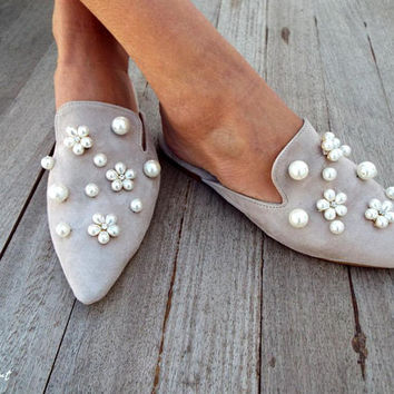 "Nude Leather Mules, Mules with pearls,  ""Sia"" big Pearls,  Decorated  shoes,  Slides,  Greek sandals,"