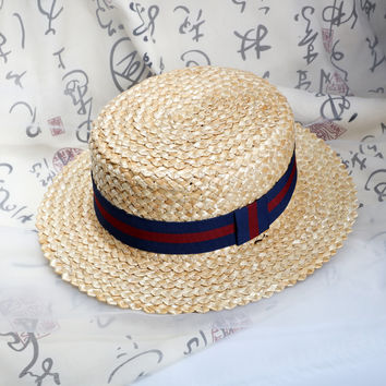 2016 Summer Sweet Cute Vintage Cross Sun Hat Beach Hat Ribbon Bow Navy Style Straw hat cap Short Flat Brim cap for women