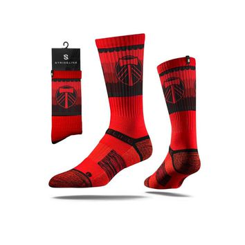 Strideline® 2.0 MLS Portland Timbers Red - Red–Black Crew Socks