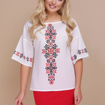 "Women's blouse ""Marta"". Red ornament"