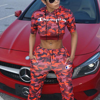 Champion Tide brand camouflage embroidered sexy women's sportswear two-piece