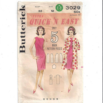 Butterick 3029 Pattern for Misses' Quick 'n Easy Dress & Coat, Size 12, Circa 1960s, 5 Main Pattern Pieces, Vintage Pattern, Home Sewing