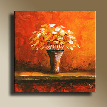 Floral Still Life Orange Print of Original Acrylic Painting Abstract