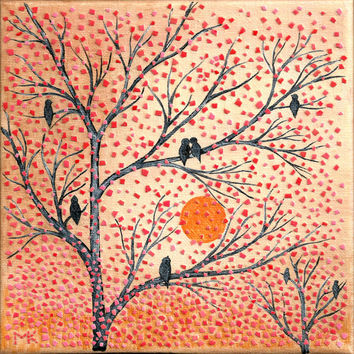 Mosaic Wall Art Original Painting Birds On Tree EggShell Mixed Media Mosaic Collage Wall Home Decor Orange Red Black Fall Gift Ideas for MOM