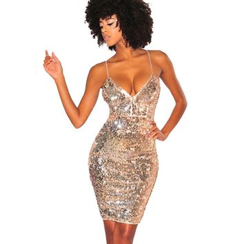 2018 Womens Gold Sequin Dress Sexy V-neck Backless Spaghetti Str 870cfe92f631