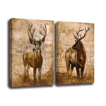 Without Frame Decor Canvas Painting Wall Pictures 2 Panels Wall Art Deer Elk Canvas Art Home Decor Modern Huge Pictures.
