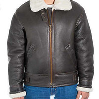B3 Ginger Aviator Real Sheepskin Flying Bomber Mens Shearling Leather Jacket