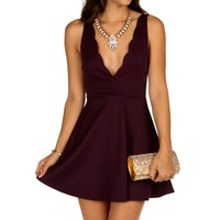 Sale-eggplant Scalloped Skater Dress