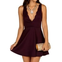 Eggplant Scalloped Skater Dress