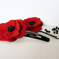 red poppy hairclip set felt girls hairpin flower bobby pin hair accessory set