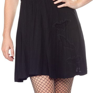 Sourpuss Black Bats in the Belfry Skirt