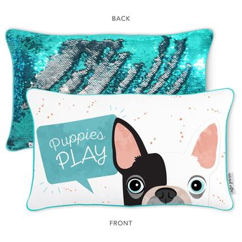 PLAY Puppy Pillow w/ Reversible Turquoise and Silver Sequins
