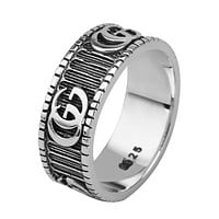 GUCCI Fashion New Letter Personality Women Men Ring Accessories