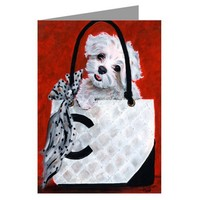 Maltese In A Haute Couture Inspired Handbag Notecard Set