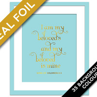 I Am My Beloved's - Real Gold Foil Print - Christian Wall Art - Song of Solomon 6:3 - Biblical Verse Art - Scripture Quote - Valentine's Day
