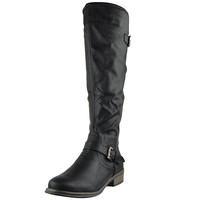 Womens Knee High Boots Back Zip Up Side Studded Casual Dress Shoes Black SZ
