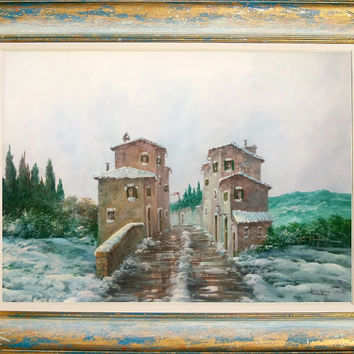 Italian painting winter in Tuscany oil on canvas with handmade frame of Luciano Torsi - Paesaggio Toscano Italia Italy